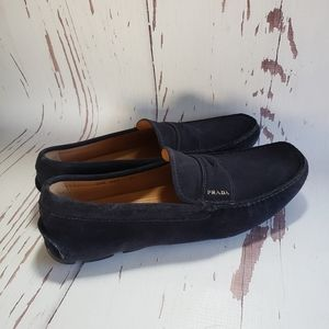 Prada mens loafers driving moccasin blue suede 8.5